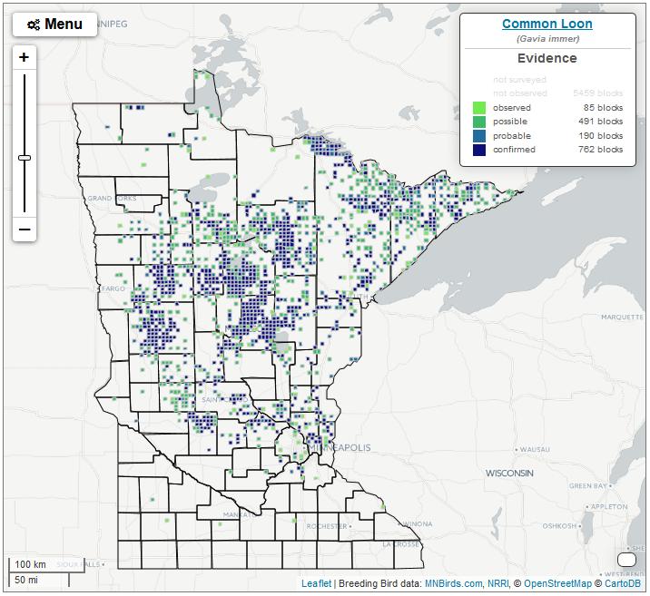 Using the Interactive Map : Minnesota Breeding Bird Atlas